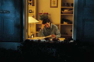 man wworking at home